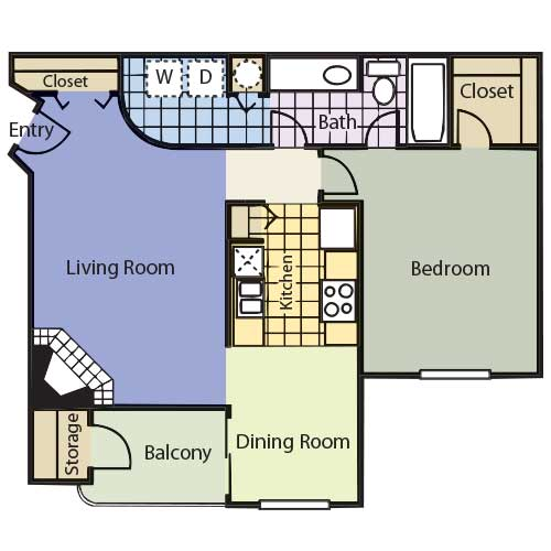 739 sq. ft. Belmont floor plan