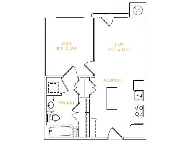 594 sq. ft. A2x floor plan