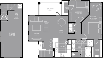 1,177 sq. ft. B2 floor plan