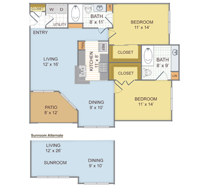 1,088 sq. ft. 2A floor plan