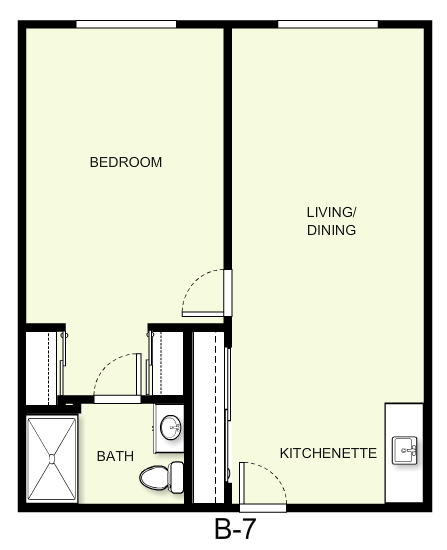 698 sq. ft. B7 floor plan