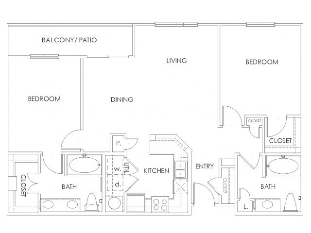 1,048 sq. ft. to 1,126 sq. ft. B2 floor plan