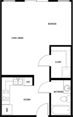 542 sq. ft. E3-B-II floor plan