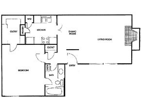 725 sq. ft. A-1 floor plan