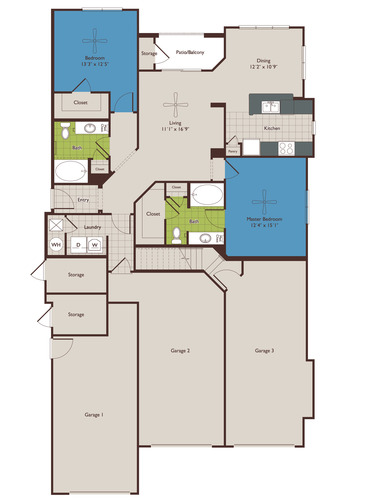 1,338 sq. ft. B4 floor plan