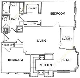 1,075 sq. ft. B1 floor plan
