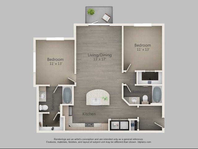 1,043 sq. ft. Juniper floor plan