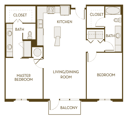 1,135 sq. ft. to 1,165 sq. ft. B2C floor plan