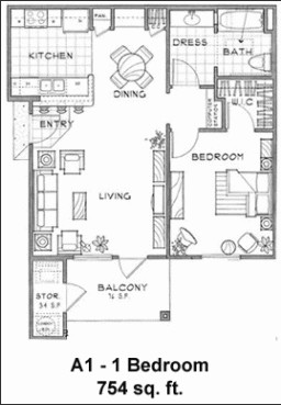 754 sq. ft. A1/60% floor plan