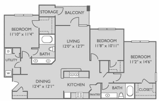 1,390 sq. ft. Sequoia floor plan