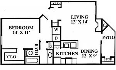 775 sq. ft. B floor plan