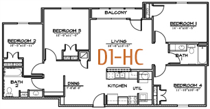1,354 sq. ft. floor plan