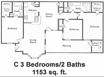 1,153 sq. ft. floor plan