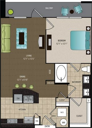 746 sq. ft. A3A floor plan