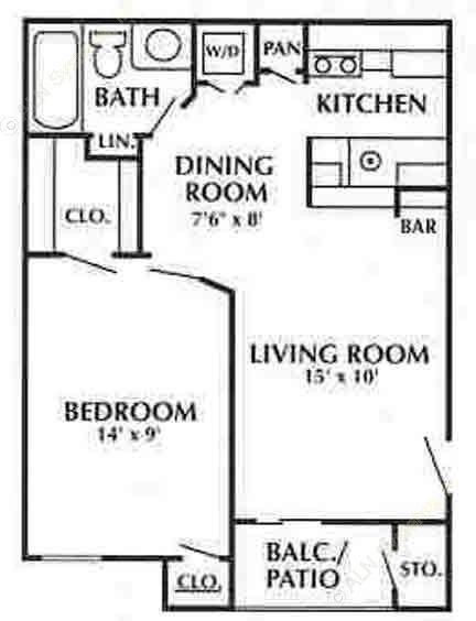 570 sq. ft. C floor plan