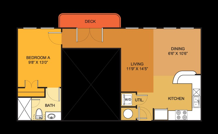 681 sq. ft. A1 ALT floor plan