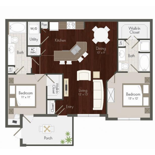 1,133 sq. ft. Falcon floor plan