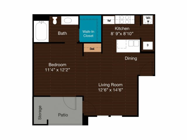 597 sq. ft. A1L floor plan