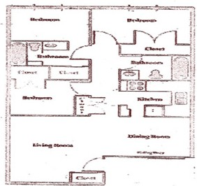 1,025 sq. ft. C floor plan