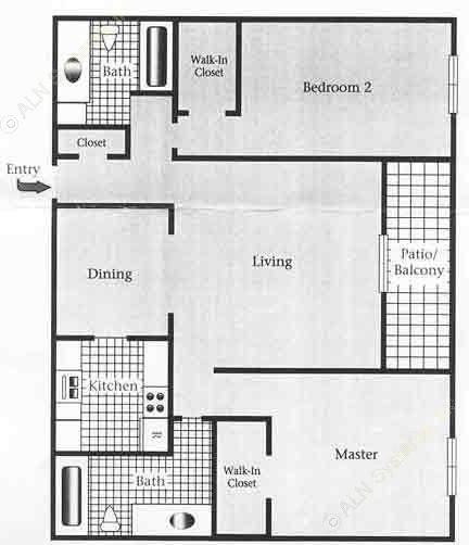 1,072 sq. ft. E/60% floor plan