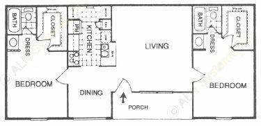 910 sq. ft. I floor plan