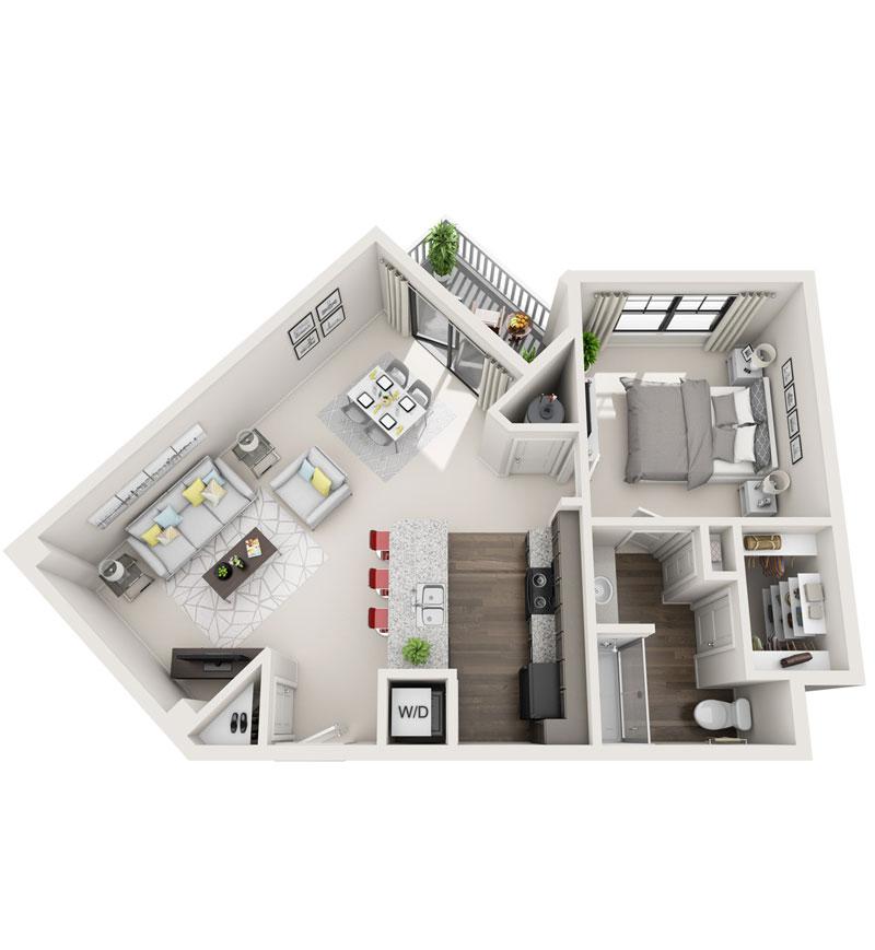 849 sq. ft. A3 floor plan
