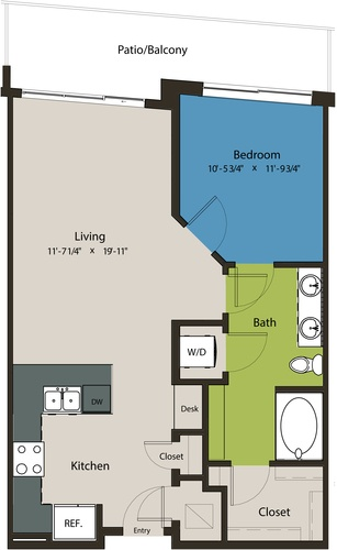 764 sq. ft. A8J-A floor plan