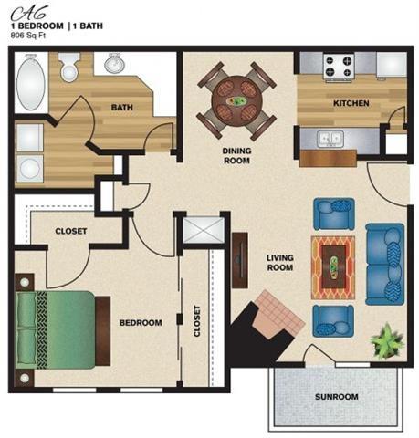 806 sq. ft. A6 floor plan