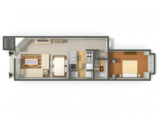 700 sq. ft. Finch floor plan