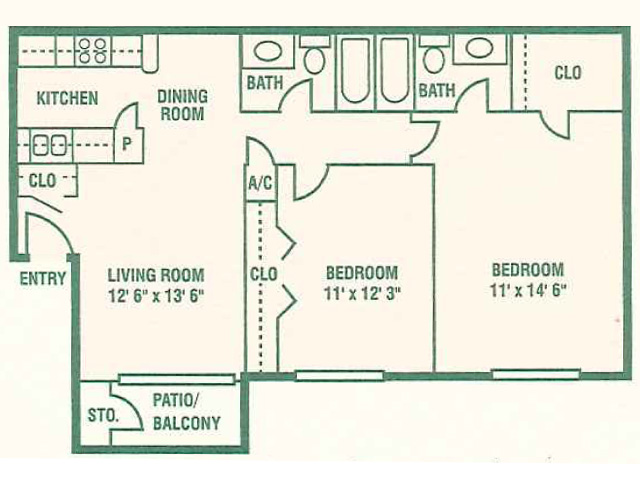 876 sq. ft. 60% floor plan