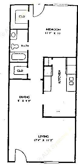 756 sq. ft. 60% floor plan