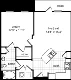 750 sq. ft. Colin floor plan