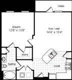 750 sq. ft. Colin floor plan
