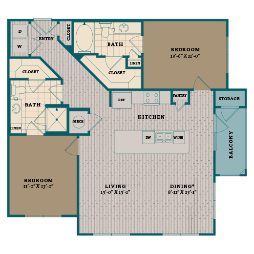 1,176 sq. ft. C3A floor plan