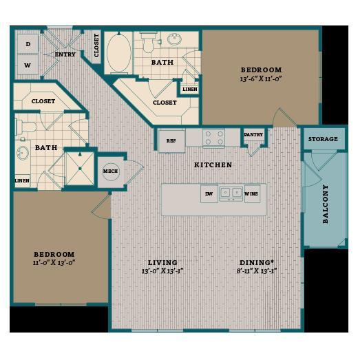 1,176 sq. ft. C3A floor plan