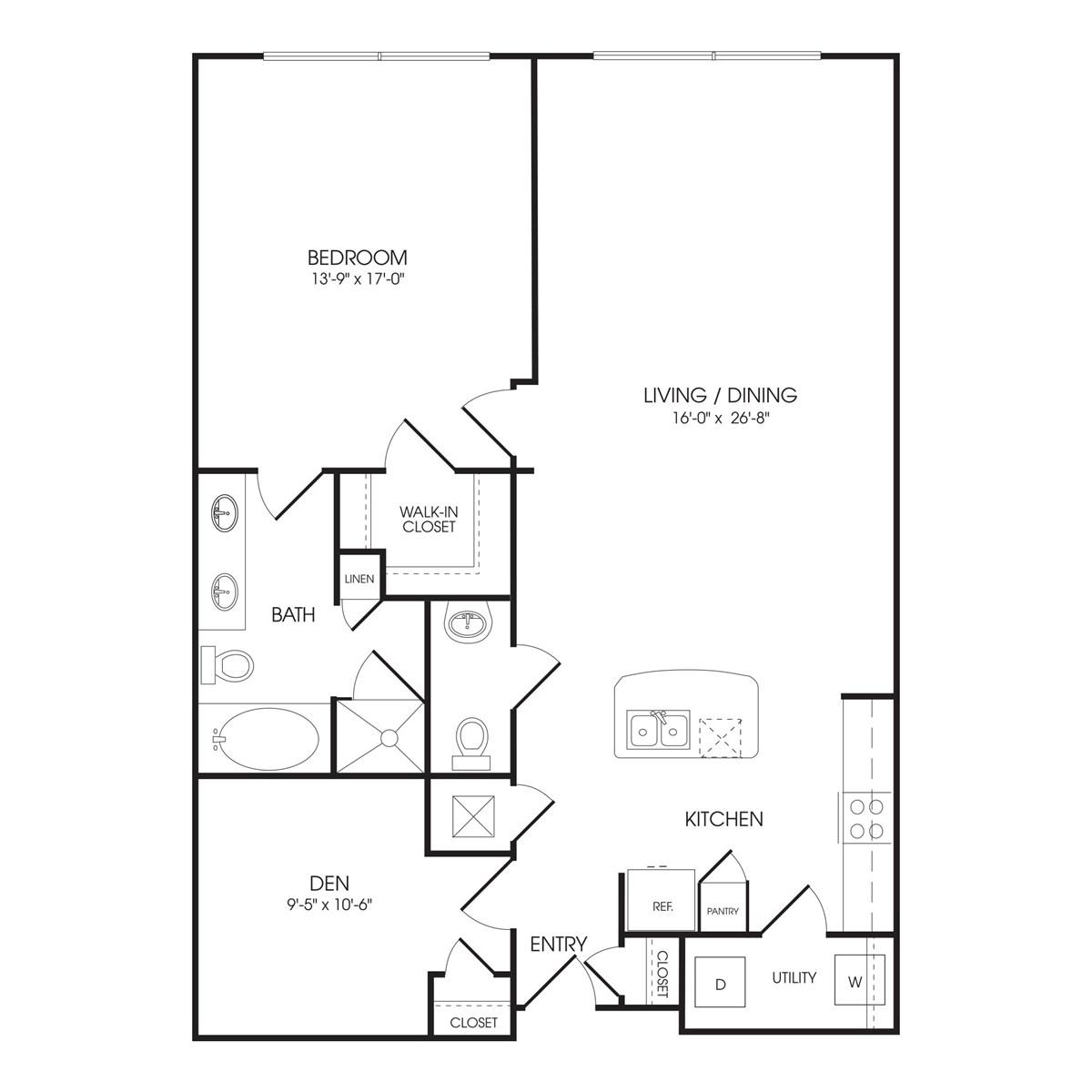 1,253 sq. ft. Oxford Street floor plan
