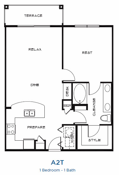 889 sq. ft. A2t floor plan