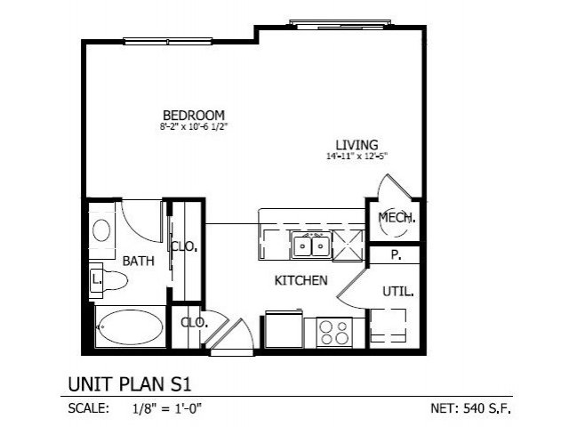 528 sq. ft. to 540 sq. ft. S.1 floor plan