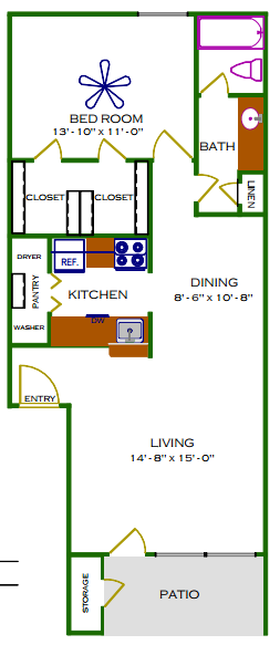 782 sq. ft. C/Sycamore floor plan