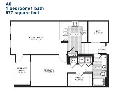 977 sq. ft. A6.1 floor plan