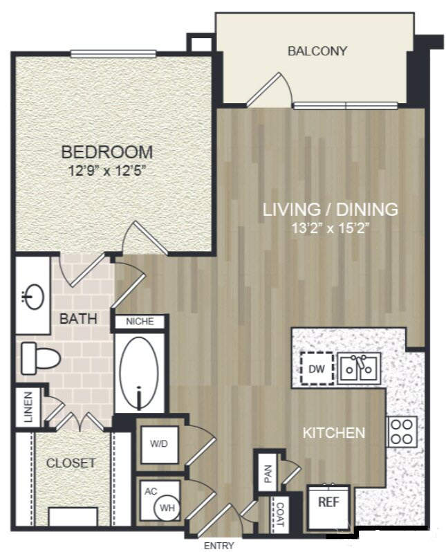 742 sq. ft. A15 floor plan