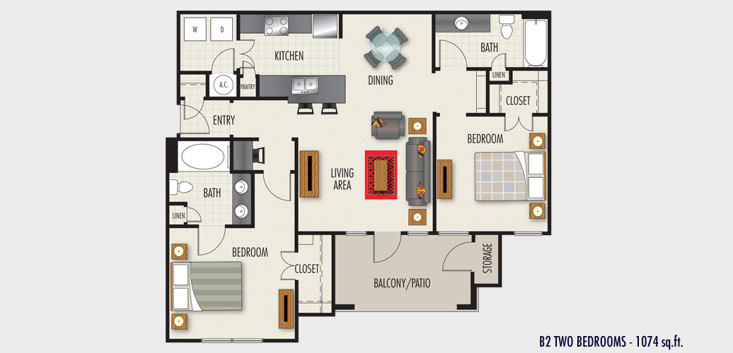 1,074 sq. ft. to 1,187 sq. ft. B2 floor plan