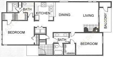 1,206 sq. ft. floor plan