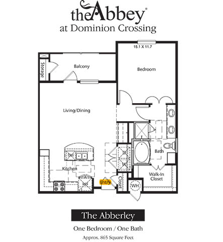 865 sq. ft. Abberly floor plan