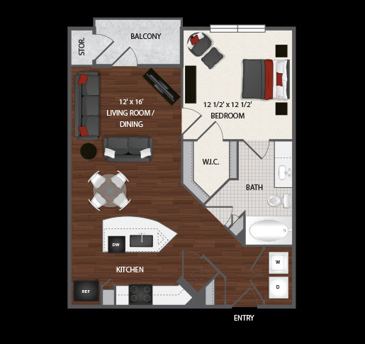 732 sq. ft. to 757 sq. ft. Devon floor plan
