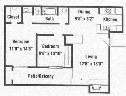 850 sq. ft. B2 floor plan