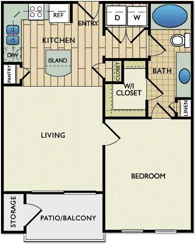 659 sq. ft. Cezanne floor plan