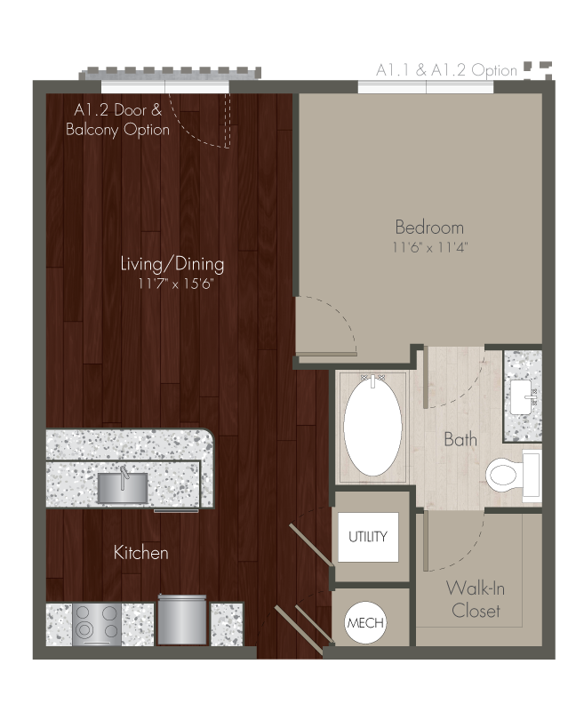 639 sq. ft. A1 floor plan