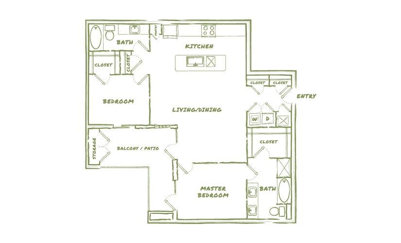 1,295 sq. ft. B6 floor plan