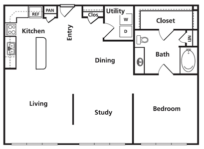 1,036 sq. ft. C1a floor plan